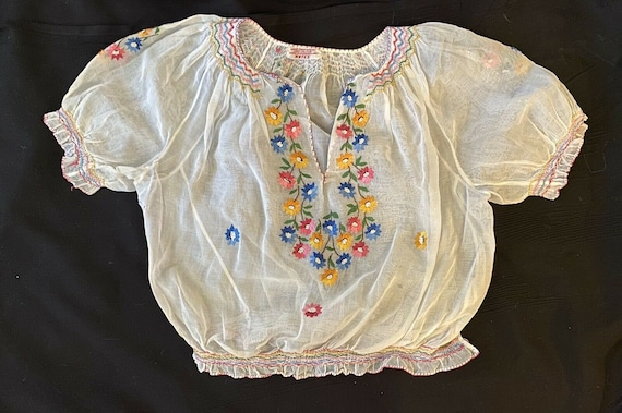 Vintage 1930s Embroidered Hungarian Blouse, ARTEX,