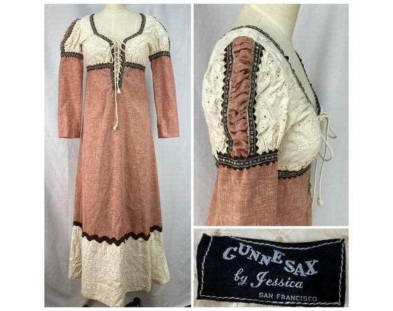 Vintage 1969/1970 GUNNE SAX By Jessica Dress, Blac