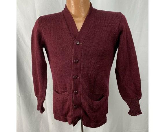Vintage 1950s Maroon Varsity Cardigan Sweater, Scu