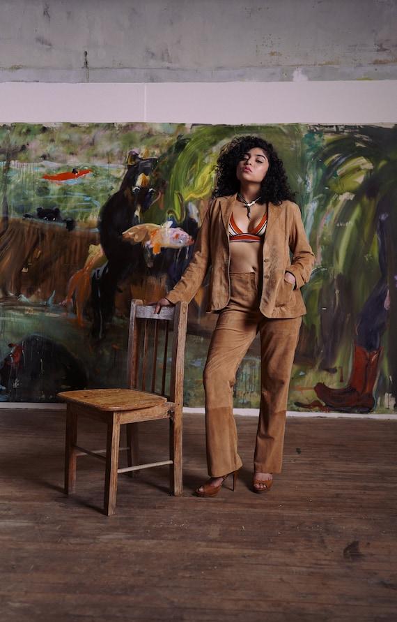 80s Suit Leather Pants Goat Suede Medium
