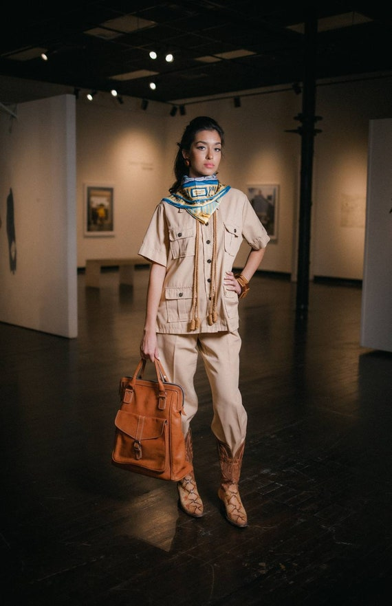 Khaki 2 Piece 70s Pant Suit Safari Sears Fashion