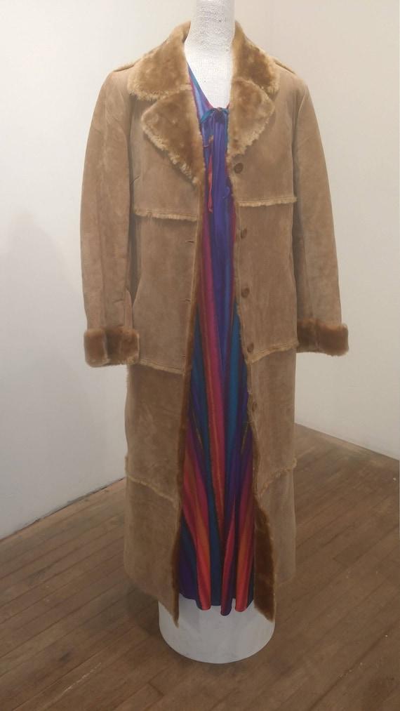 Leather Coat Full Length Faux Fur Collar