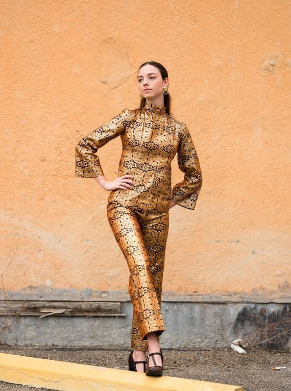 Psychedelic 60s Brocade Pant Suit 2 Piece Tunic S… - image 1