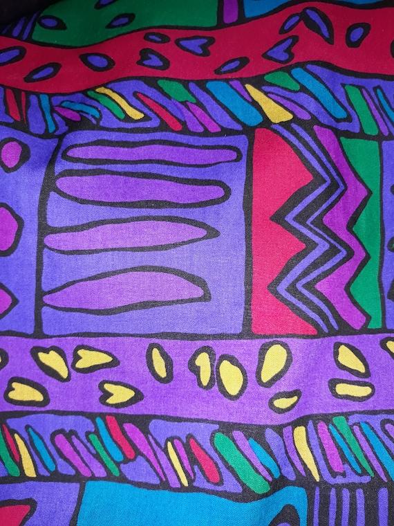 Helga 80s Purple Geometric Print Drop Waist Dress… - image 9