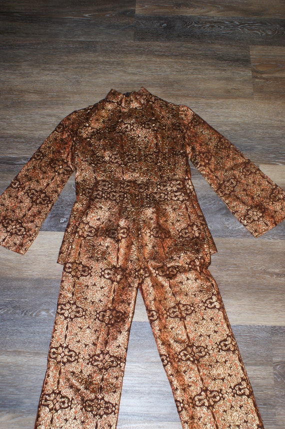 Psychedelic 60s Brocade Pant Suit 2 Piece Tunic S… - image 7