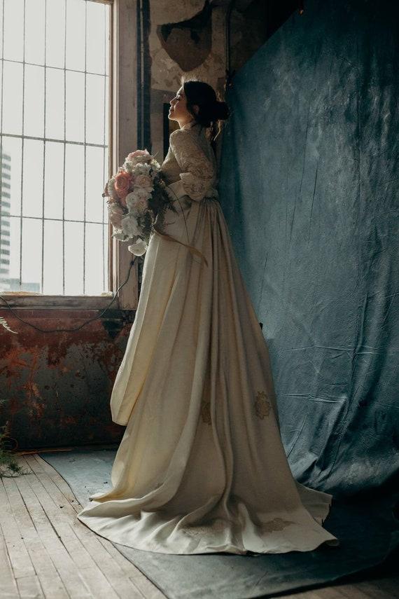 Vintage 1960s Wedding Dress with Train Bishop Slee