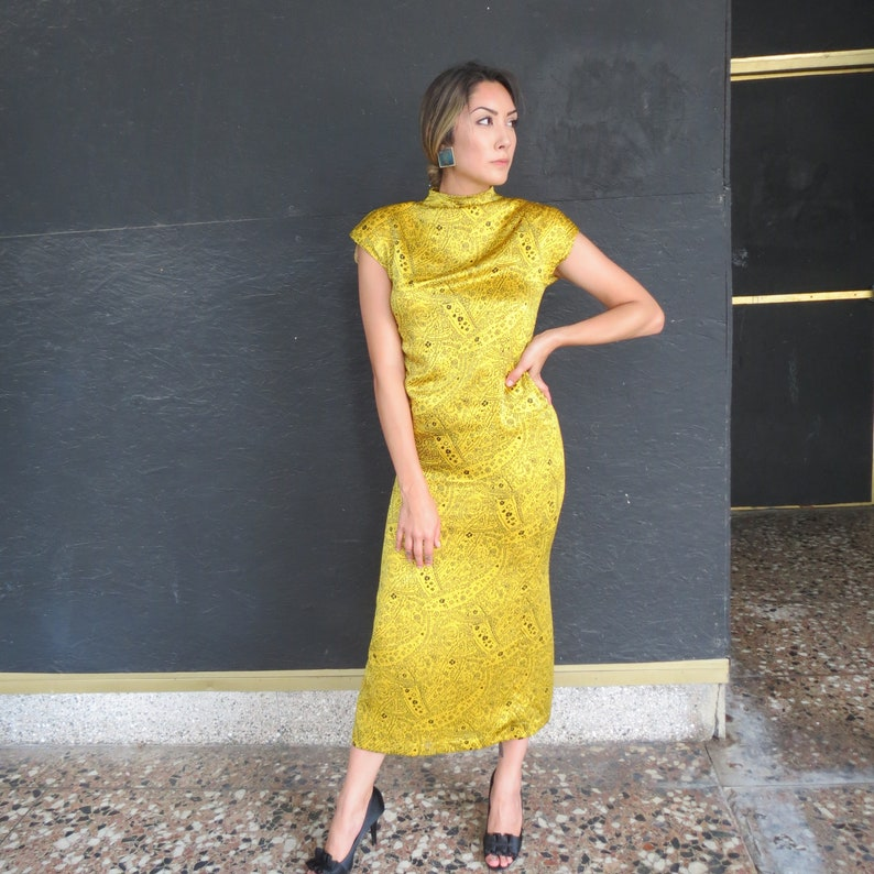 ff33ad28d055 Silk Dress Women Yellow and Black Dress Pencil dress 80s