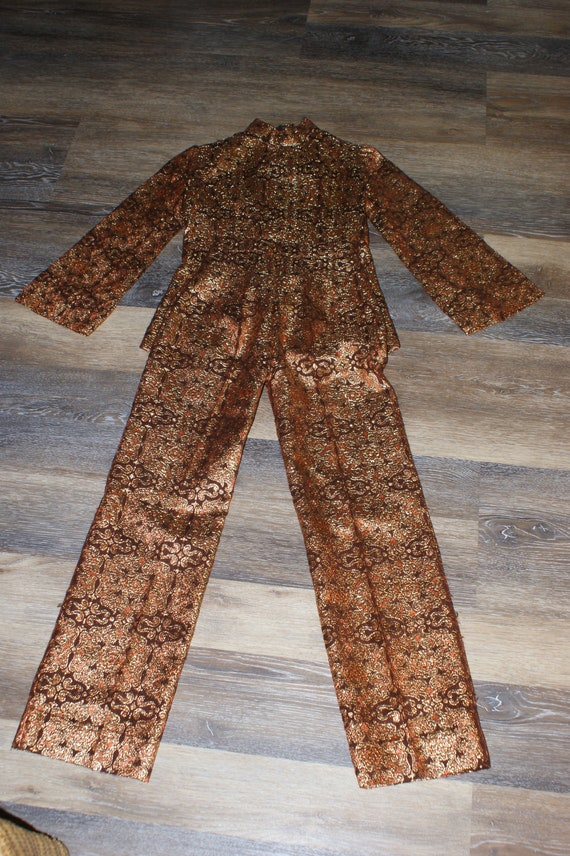 Psychedelic 60s Brocade Pant Suit 2 Piece Tunic S… - image 8