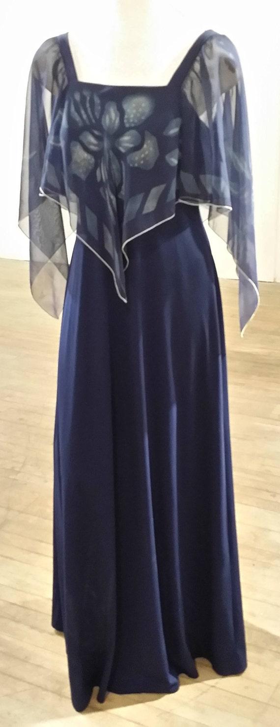 70s Maxi Dress Medium Blue Flutter Sleeve
