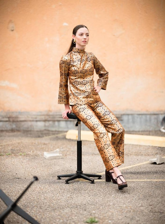 Psychedelic 60s Brocade Pant Suit 2 Piece Tunic S… - image 2