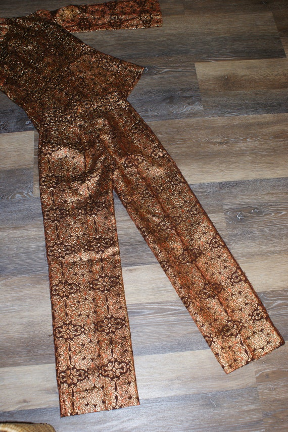 Psychedelic 60s Brocade Pant Suit 2 Piece Tunic S… - image 5