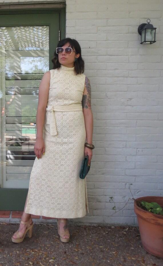 Crochet Bohemian 1970s Maxi Dress