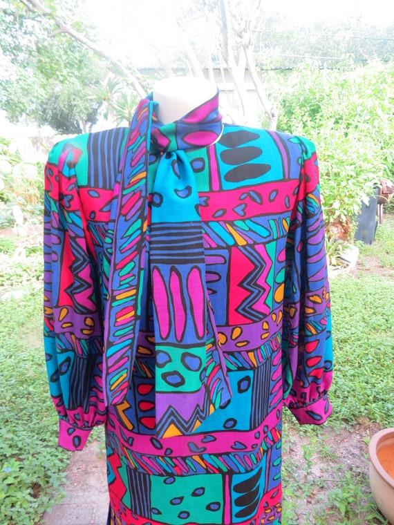 Helga 80s Purple Geometric Print Drop Waist Dress… - image 8