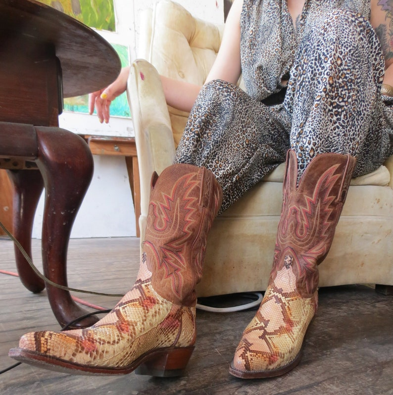 ac654994821 Leather Boots    Lucchese 1883, Cowgirl Cowboy Boots, Western, Custom,  Snakeskin Boots, Vintage Boots, Made in Texas, Leather Heel, Snip Toe