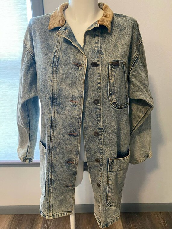 Vintage Lee Acid Wash Denim Jacket Cropped Duster