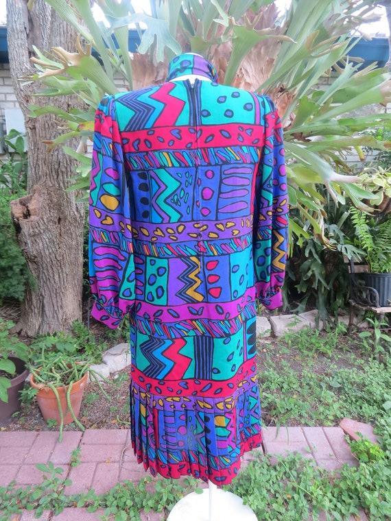 Helga 80s Purple Geometric Print Drop Waist Dress… - image 6