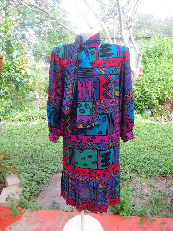Helga 80s Purple Geometric Print Drop Waist Dress