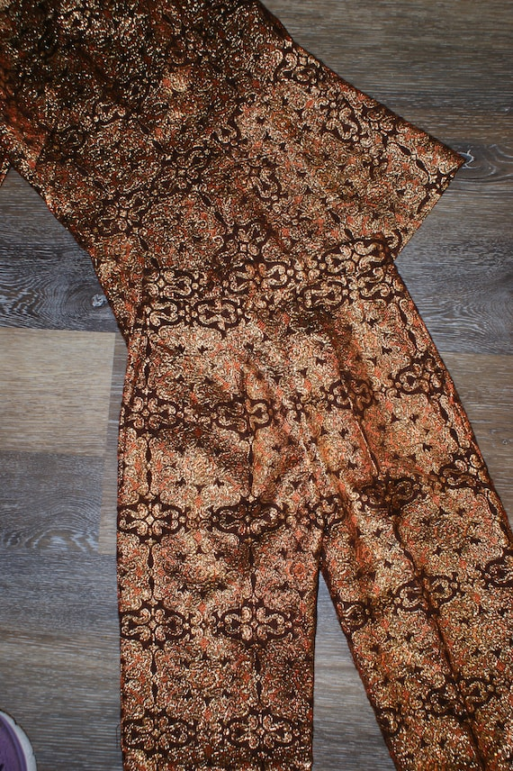 Psychedelic 60s Brocade Pant Suit 2 Piece Tunic S… - image 6