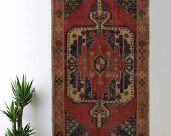 Antique Turkish Rug Oushak Decorative Handwoven Rug Turkish Antique Rug 4.3 ft x 8.5 ft F-21