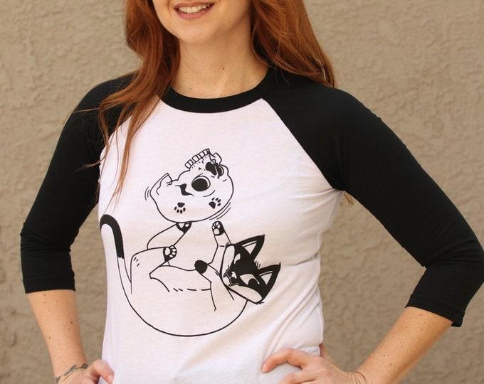 "Featured listing image: Unisex 3/4 Sleeve Raglan ""The Meow"""