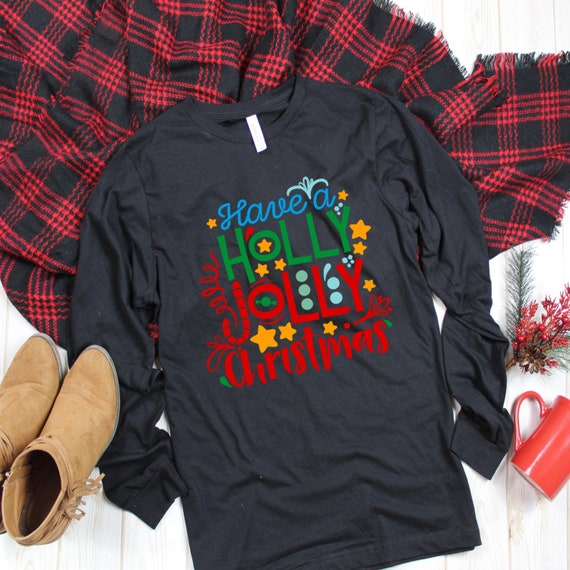Christmas Tops For Women.Holly Jolly Christmas Shirt Long Tee Shirts Womens Long Tee Shirts Men Plus Size Christmas Tops For Women Christmas Top Xmas Gift