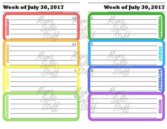 2019 Printable Planner Weekly Calendar January December Junior Etsy