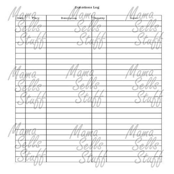 printable charitable donation log planner page letter size etsy