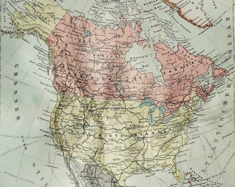 1897 Antique map of NORTH AMERICA. USA, Canada, Mexico. 121 years old chart