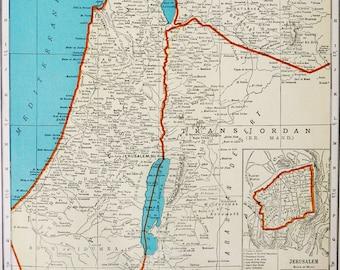 1938 Vintage map of PALESTINE. Jerusalem. Gaza Strip. Holly Land. Israel. 80 years old chart