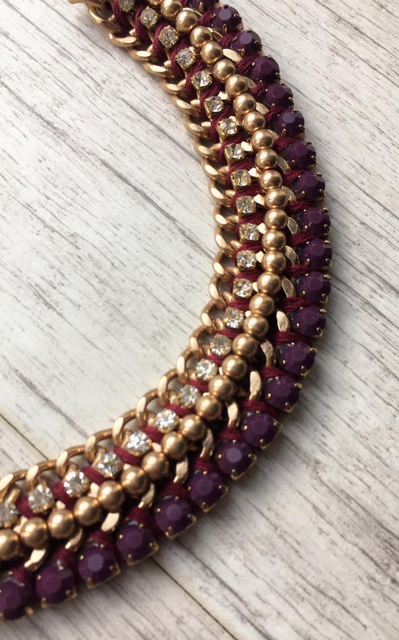 Purple Necklace Crystal Choker Mothersday Gift