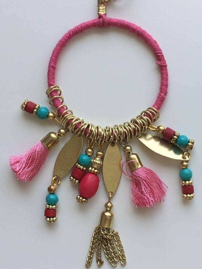 Tassel Necklace Pendant Multi Colours