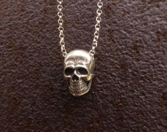 Mens silver pendant etsy man silver pendant skull necklace man silver skull necklace mens silver necklace silver head pendant mens silver jewelry aloadofball Images