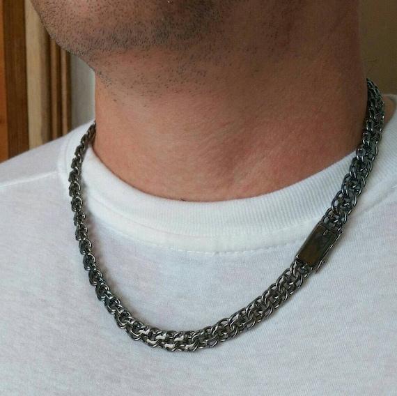Black Chain Necklace Mens Large Necklace Brutal Mens Etsy