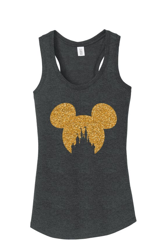 aa6344d98b8ee mickey mouse head with Castle Outline Disney World ladies tank