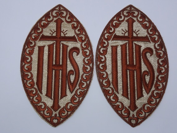 IHS Cross Applique Emblem Embroidered Sew On Patch for Vestment 2 Pieces Rare