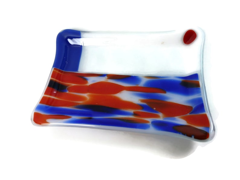 Unique Red white and blue handmade  Fused Glass Soap dish sponge holder bathroom accessory  DRGS366