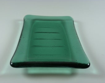 Transparent Green  Fused Glass Soap dish DRGS245