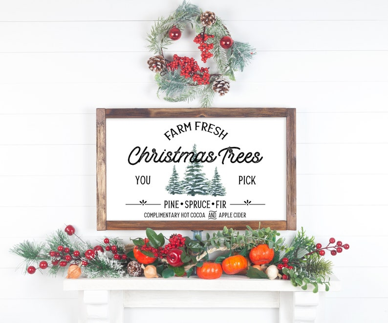 Farm Fresh Christmas Tree Sign Christmas Decor Christmas image 0
