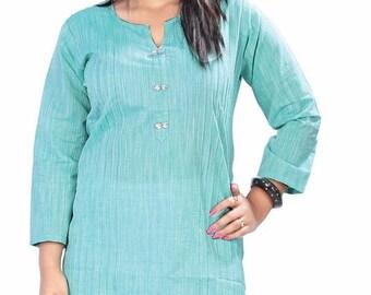 Linen tunic,Cotton tunic, summer wear, long tunic,kurta,long kurti,turquoise blue tunic