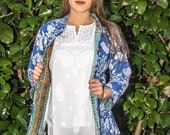 Cotton Quilted Mandarin collar Jacket, Soft Indian cotton, reversable jacket, Blue floral jacket