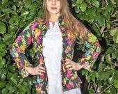 Cotton Quilted Mandarin collar Jacket, Soft Indian cotton, reversable jacket, Black floral jacket