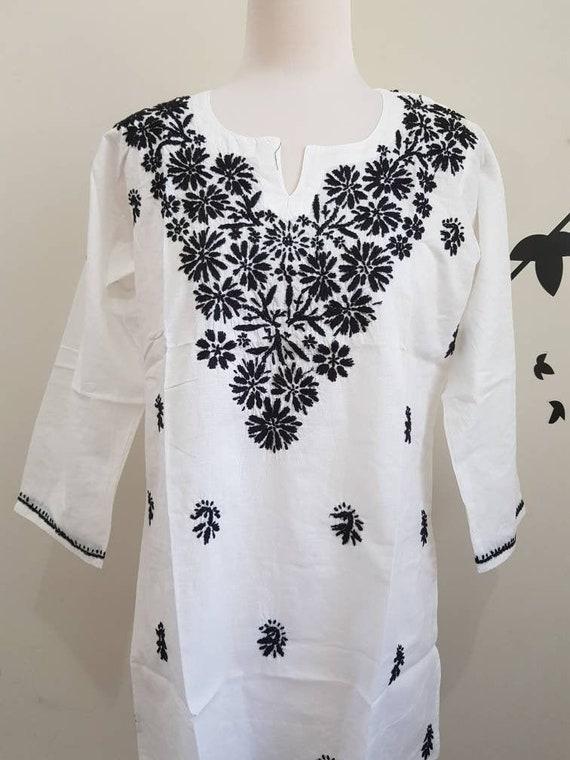Chikankari White womens kurta XS Size Soft cotton voile kaftan tunic Indian hand embroidery kurta white Tunic