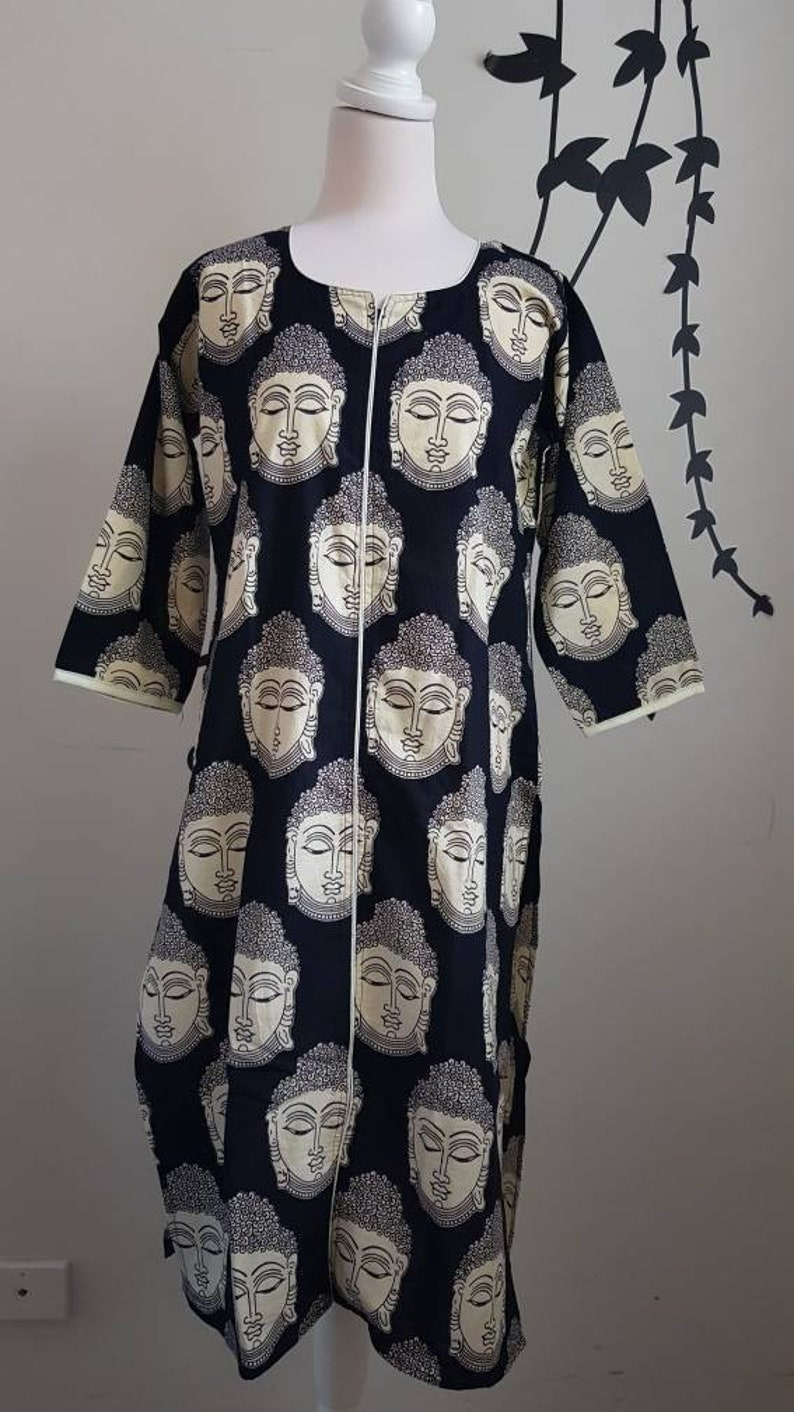 Black Tunic Buddha print boho kurti Indian cotton long Kurta