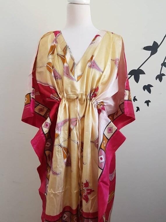 Indian Cotton Floral Beach Bridesmaid Cover Maxi Women Long Kaftan Dress Hand Block Print Garment care Vintage Beautiful Throw A Line Caftan