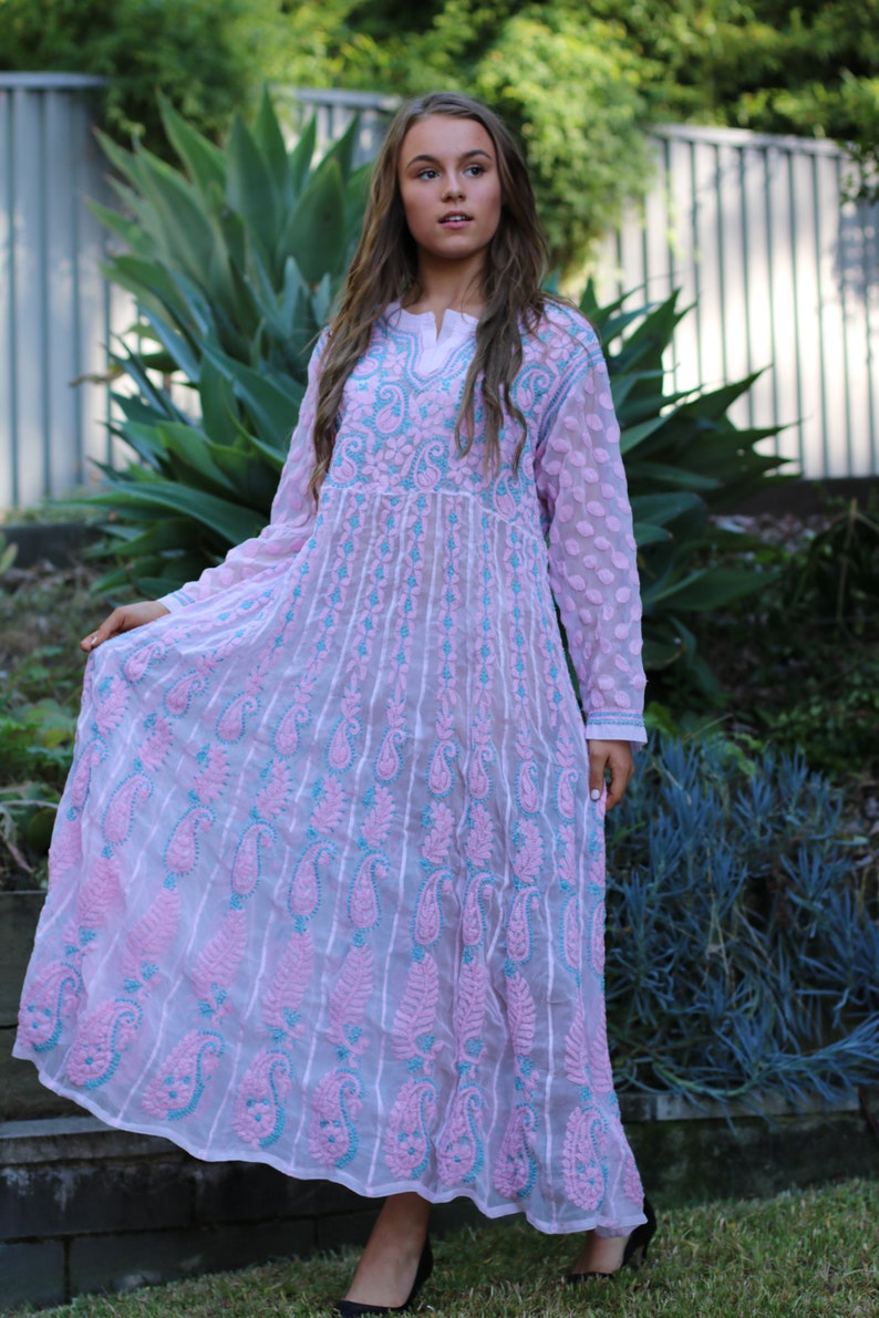 d8cbf8b033b Chikankari long maxi dress Ibiza style long maxi tunic Pink