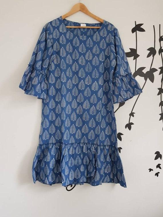 Womens Summer Dress, Indian Cotton voile Hand Block Print Indigo blue