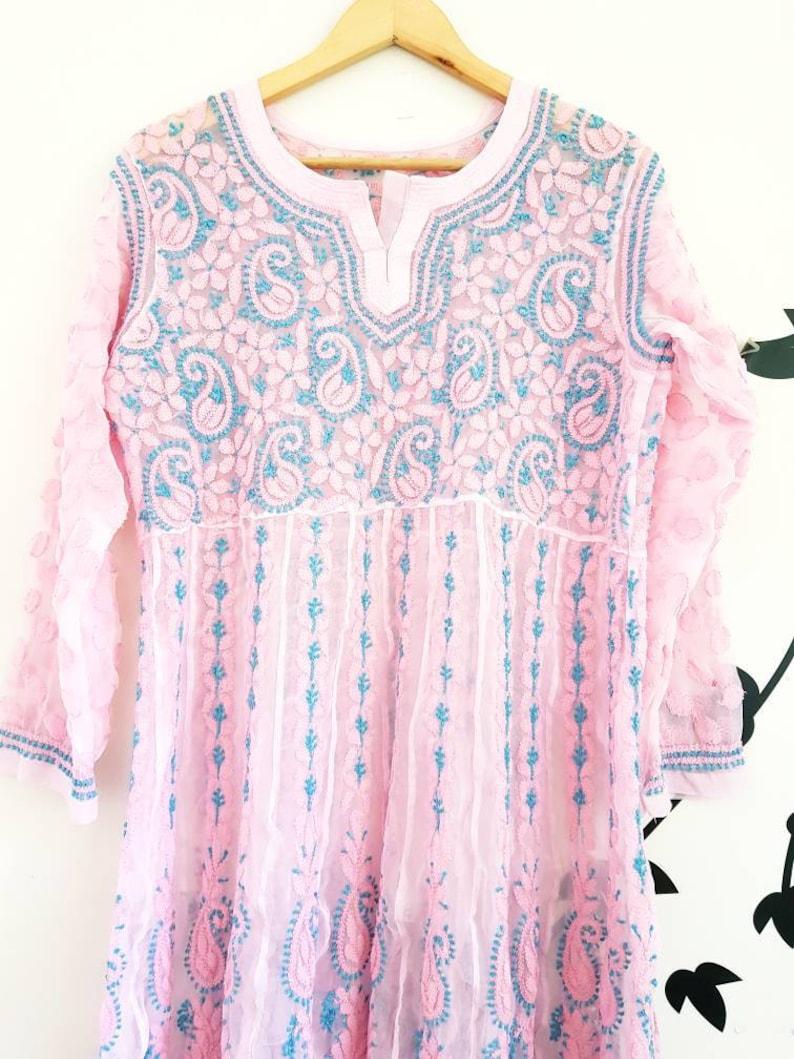 Anarkali XS to S Ibiza Gypsy style long maxi tunic Chikankari Anarkali kurti long maxi dress Kurta long A line tunic Pink boho dress