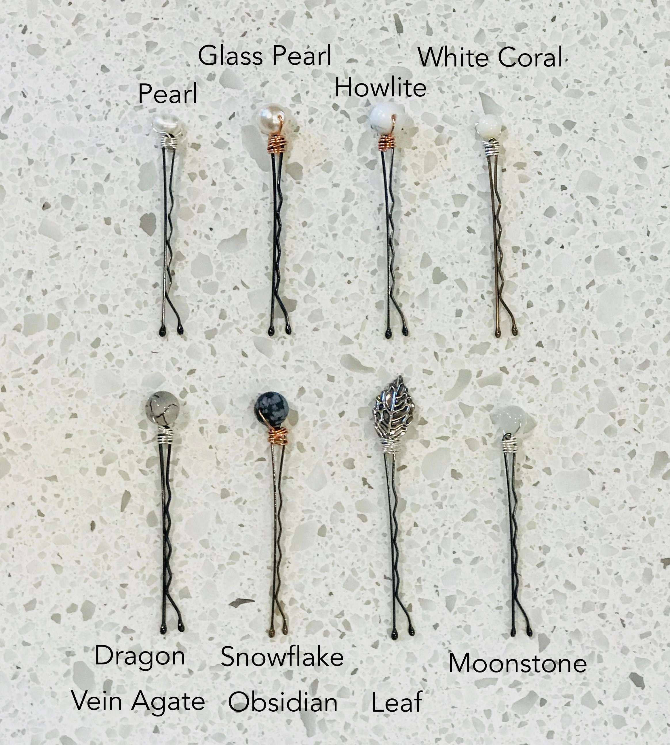 semi-precious hair pins