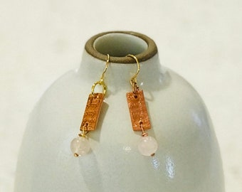 Textured Copper and Rose Quartz Earrings