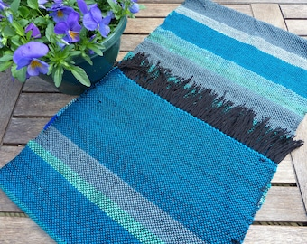 Hand woven wrap/scarf- mixed blues and greens